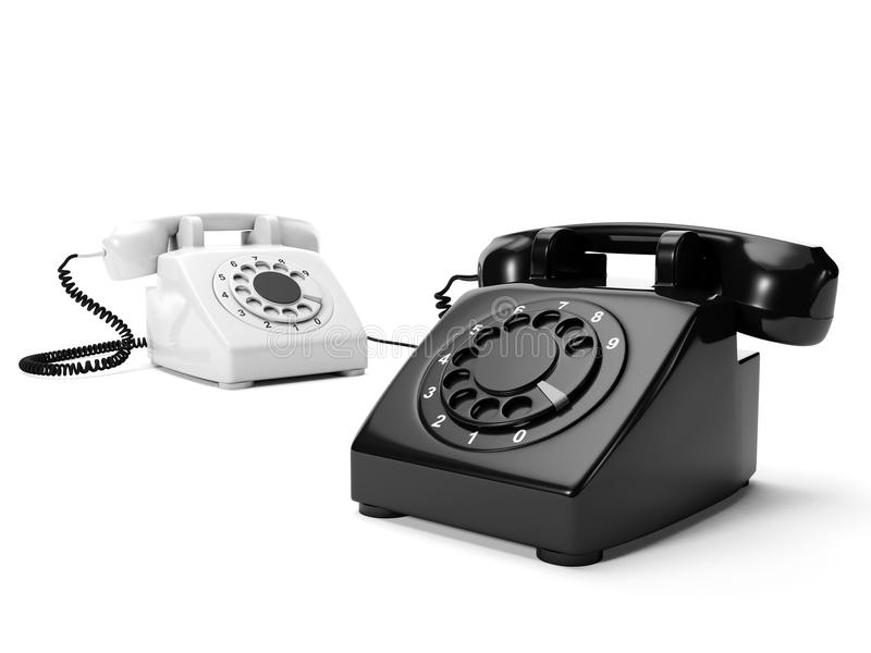 Download Two Phones The Black And White Stock Illustration - Image: 25945447