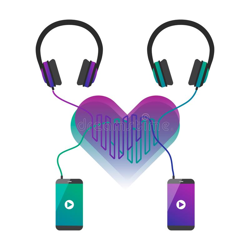 Two phones connected to headphones and cords forms hearts. vector illustration