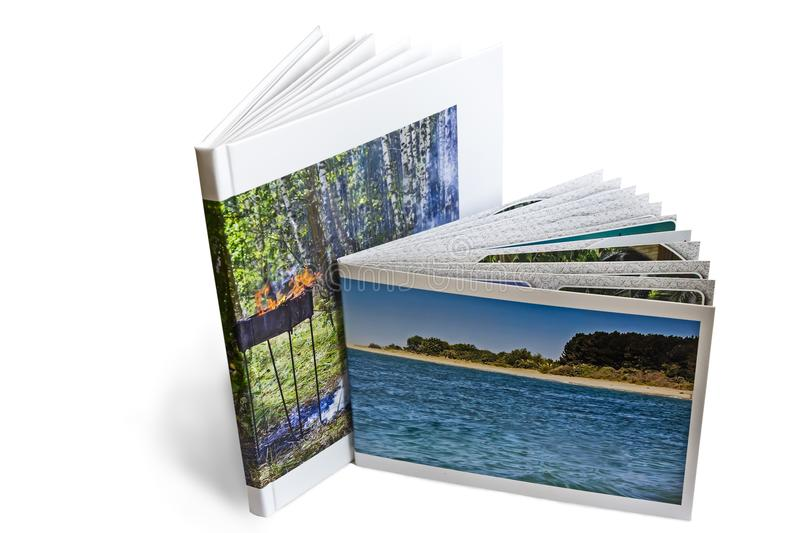 Two of photo album on white background. Two of the photo album is decorated in a beautiful photobook. Presented on a white background stock photos