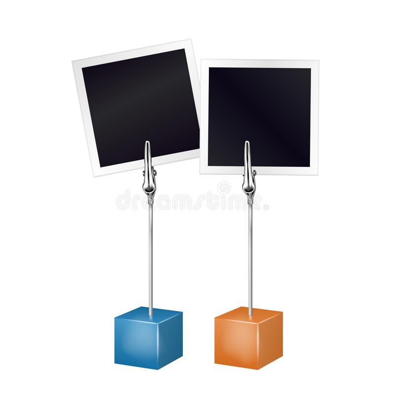 Free Two Photo Frames On A Metal Memo Holder Clip. Photos On Wire Silver Clamps Over White Background. Photo Album. Vector Illustration Royalty Free Stock Photo - 159831635