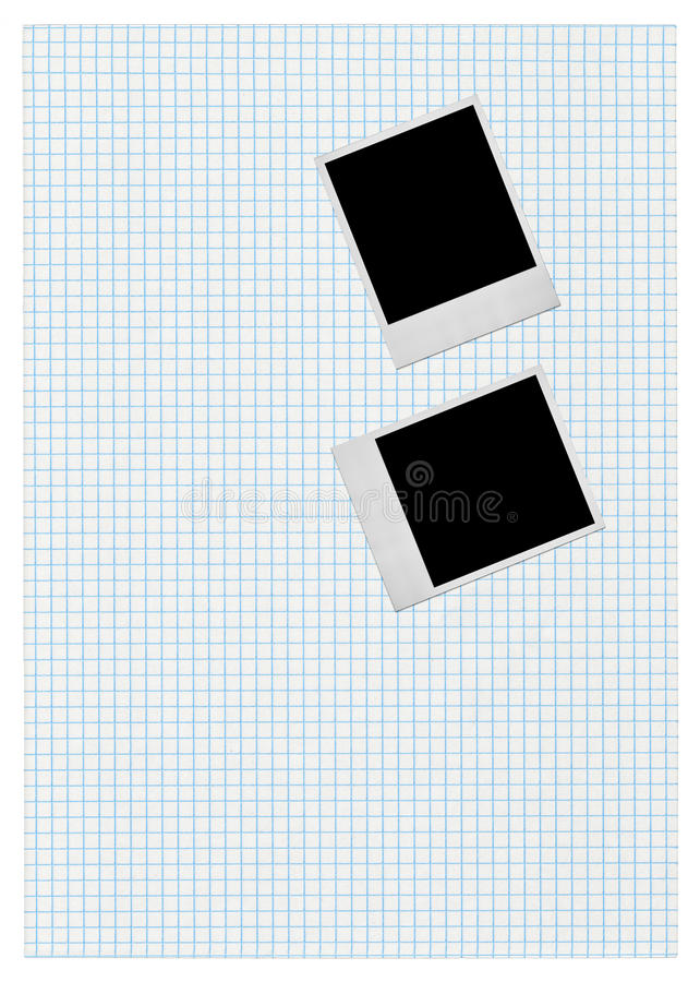 Two Photo Frames On Piece Of Squared Paper Royalty Free Stock Image