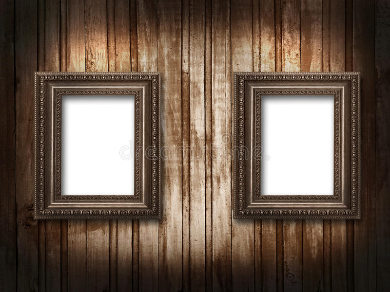 Download Two Picture Frames On A Wooden Background Grunge Stock Illustration - Image: 25566259