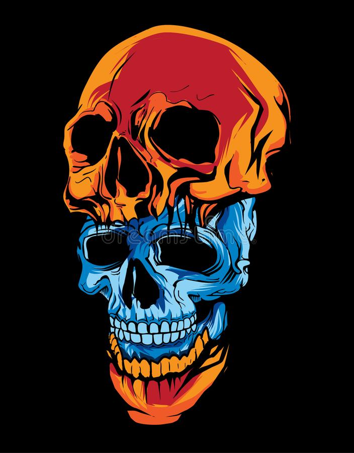 two piece of blue and orange skull head in dark background royalty free stock image