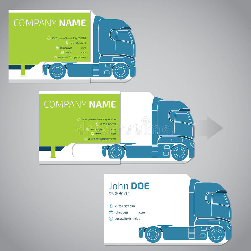 Two piece business card with truck and trailer stock vector download two piece business card with truck and trailer stock vector illustration of identity colourmoves