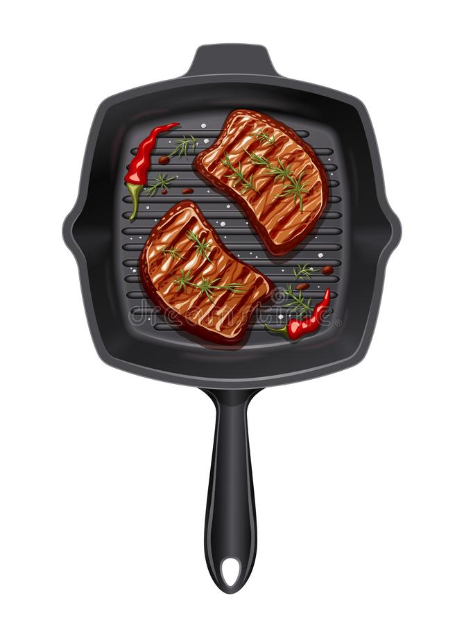 Two piece of meat fry at grill pan. B-B-Q utensils for roast food. Cooking meal barbecue. Cook fry-up barbeque picnic kitchenware. Realistic steak slice stock illustration