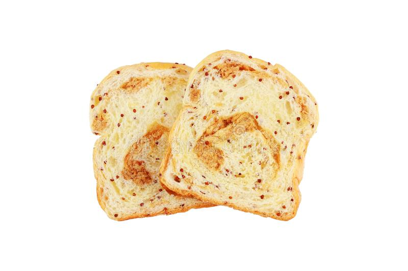 two pieces of dried shredded pork and sesame bread isolated on w stock photos