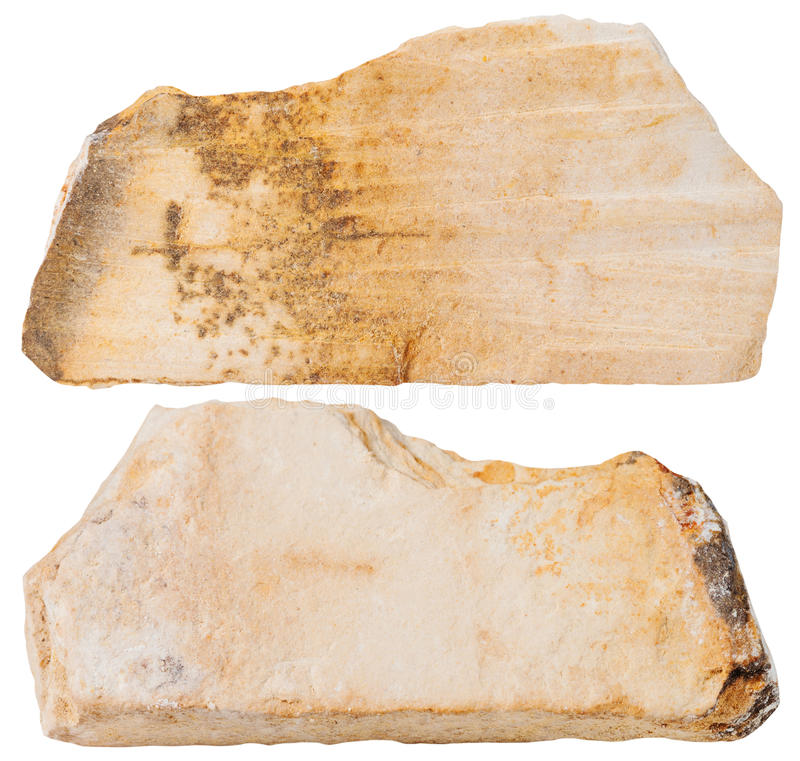 Two pieces of Shale mineral stone isolated. Macro shooting of specimen natural rock - two pieces of Shale mineral stone isolated on white background stock image