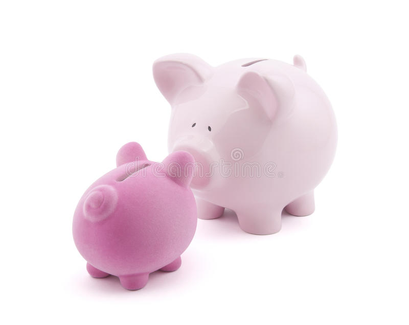 Two piggy banks royalty free stock images