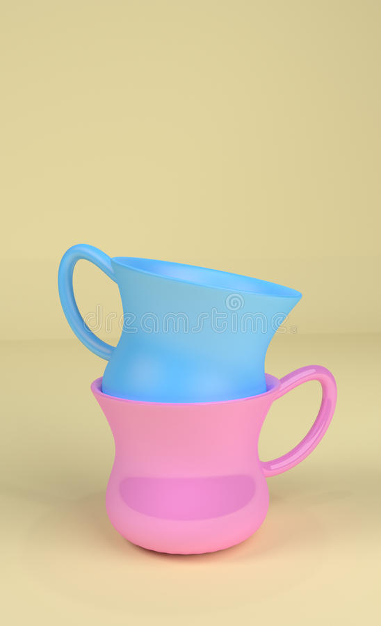 Two piled coffee Cups. Two blue and pink cups piled with a yellow background. She and he love concept stock illustration