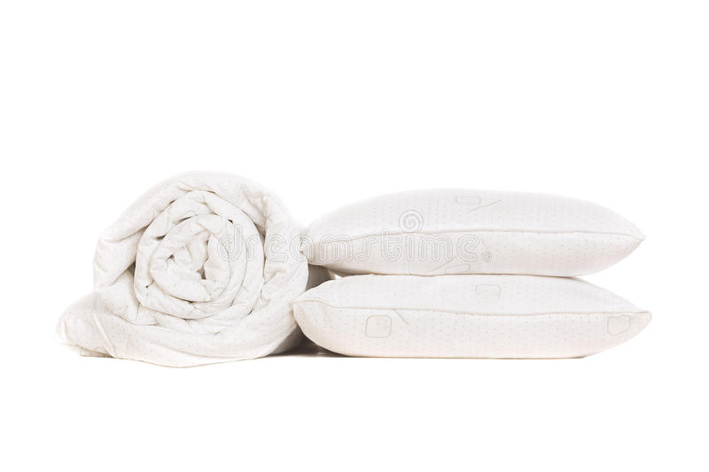 Two pillows and duvet. Isolated on white royalty free stock photos