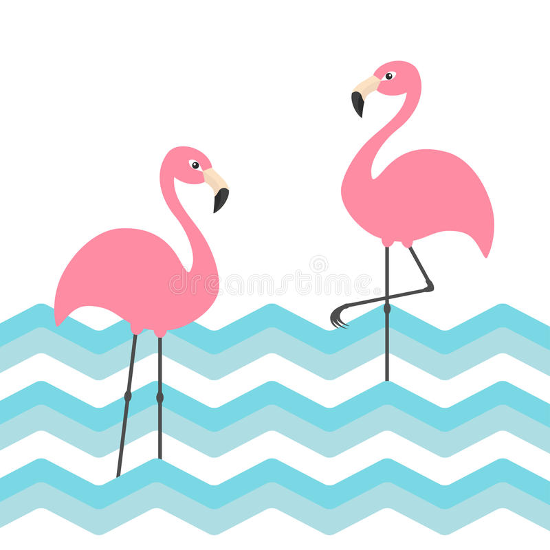 Two pink flamingo set. Blue sea ocean water zigzag wave. Exotic tropical bird. Zoo animal collection. Cute cartoon character. Deco. Ration element. Flat design stock illustration