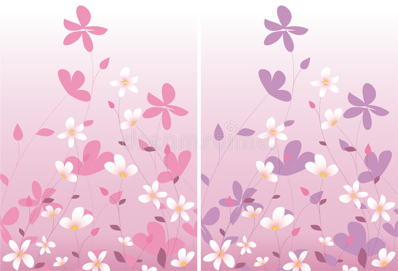 Download Two pink floral design stock vector. Image of bloom, graphic - 8185531