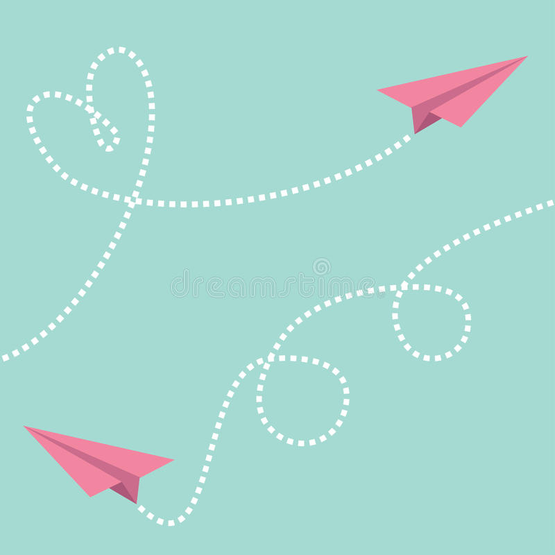 Two pink flying origami paper plane. Dashed line Heart loop Happy Valentines day Greeting card template Blue sky background Flat d. Esign Vector stock illustration
