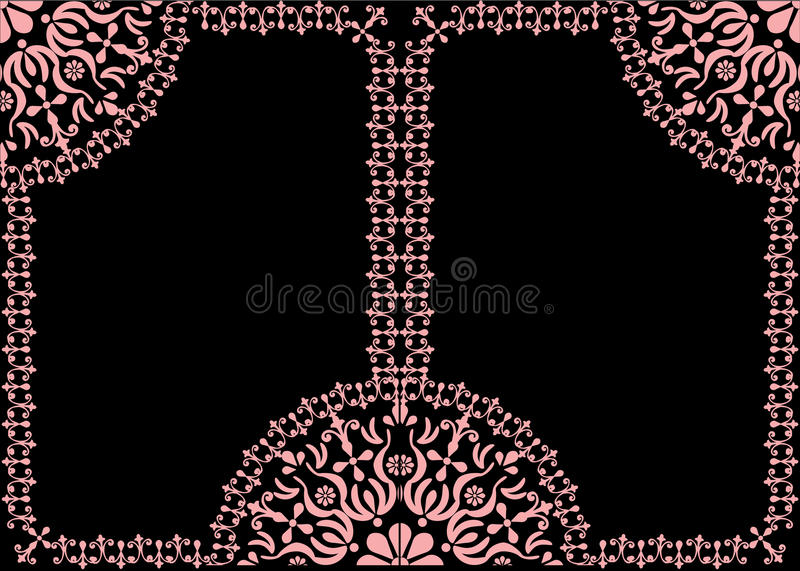 Download Two Pink Frames Decoration On Black Stock Vector - Illustration of flower, graphic: 13886954