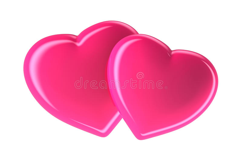 Two pink hearts isolated on white, 3d rendered image stock illustration