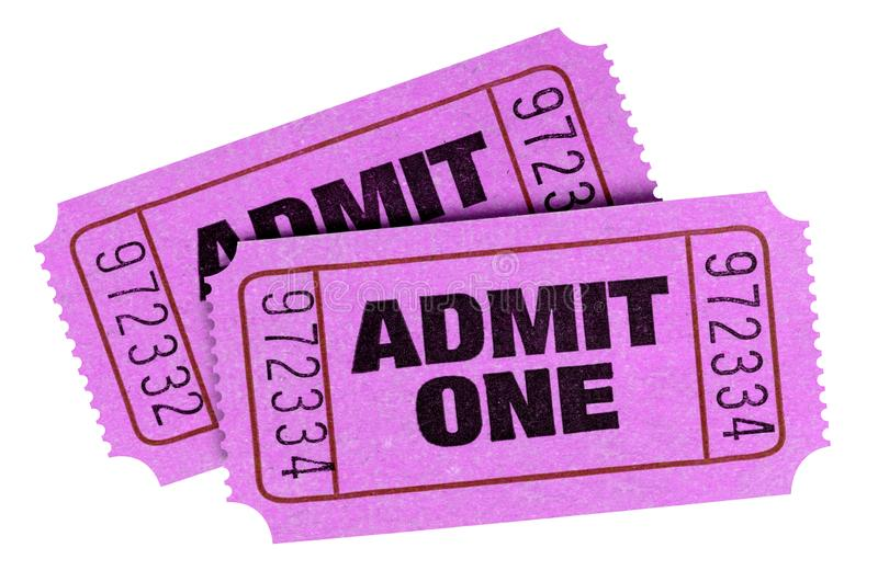 Two pink purple admit one cinema theater tickets isolated stock images