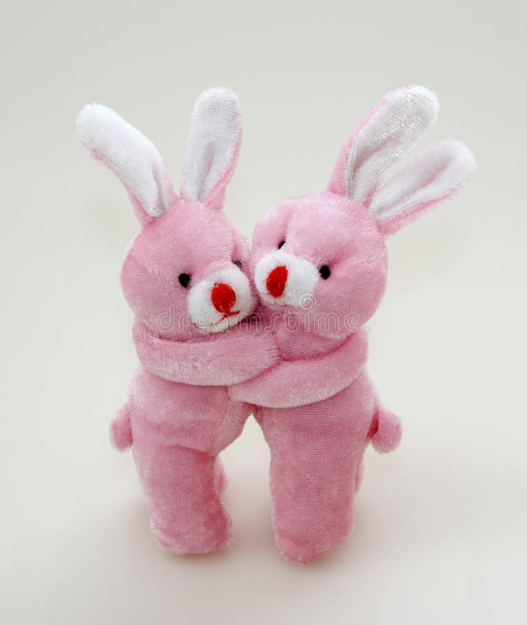 Two Pink Rabbits Cuddling Royalty Free Stock Photos