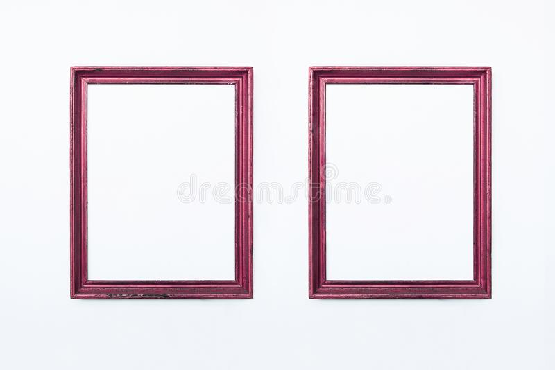 Two pink rectangular frames for painting or picture on white background. Isolated. Add your text. royalty free stock image
