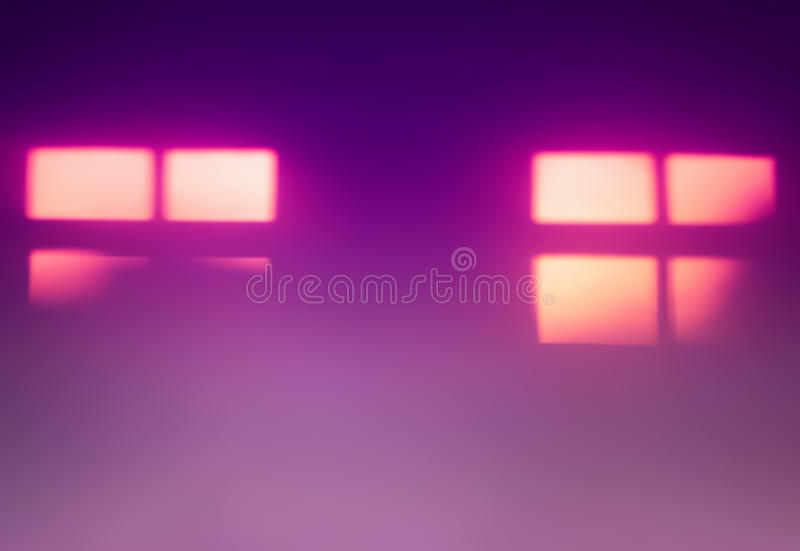 Two pink windows silhouettes bokeh background. Hd royalty free stock images