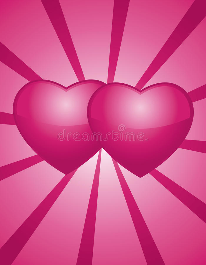 Two pinks hearts stock illustration