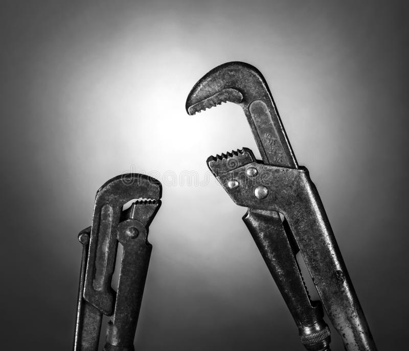 Two pipe wrenches  royalty free stock photos