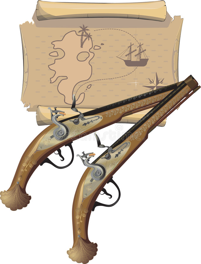 Two Pirate pistol and Map vector illustration