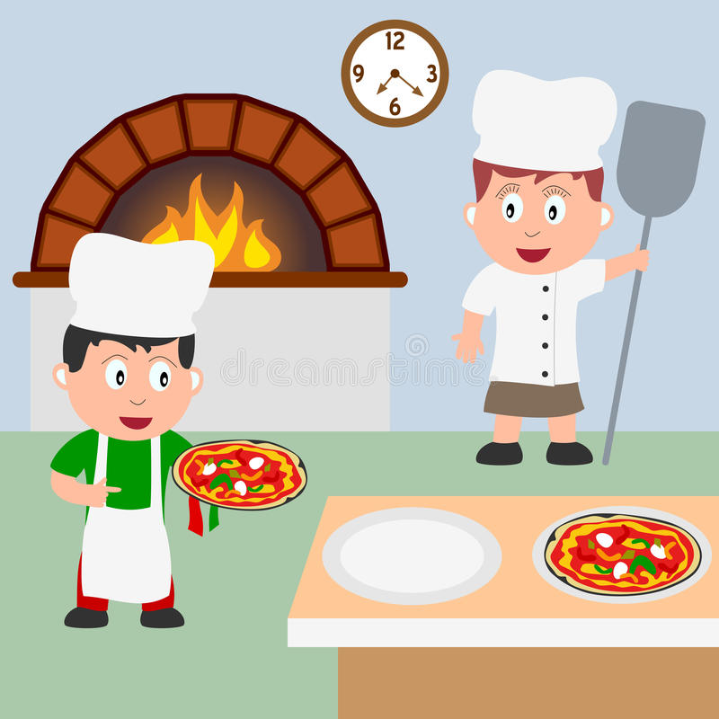 Free Two Pizza Chefs Cooking Royalty Free Stock Photo - 9823575
