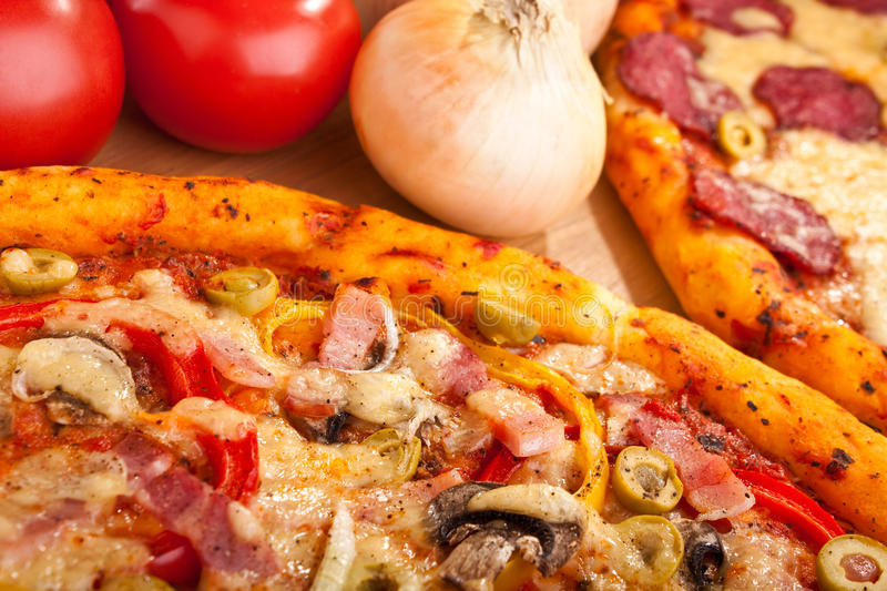 Download Two pizzas close up stock image. Image of meat, basil - 10816975