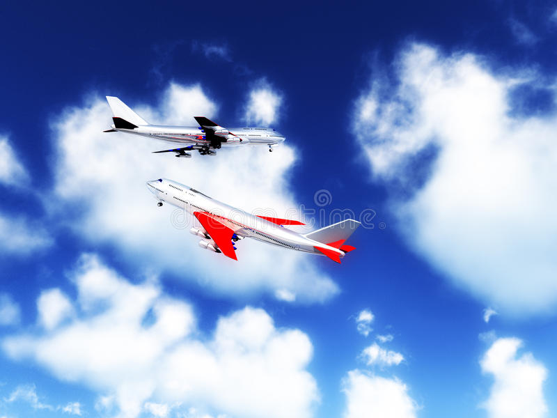 Two Planes In The Sky Royalty Free Stock Photo