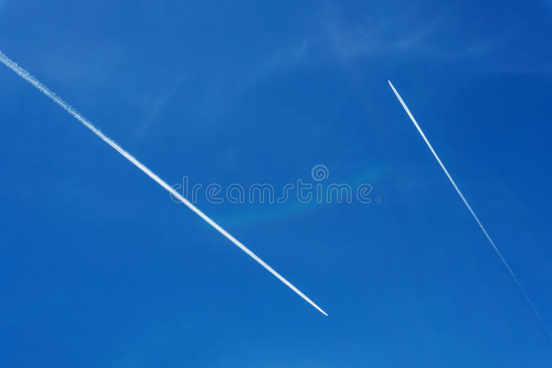 Two planes in the sky royalty free stock images