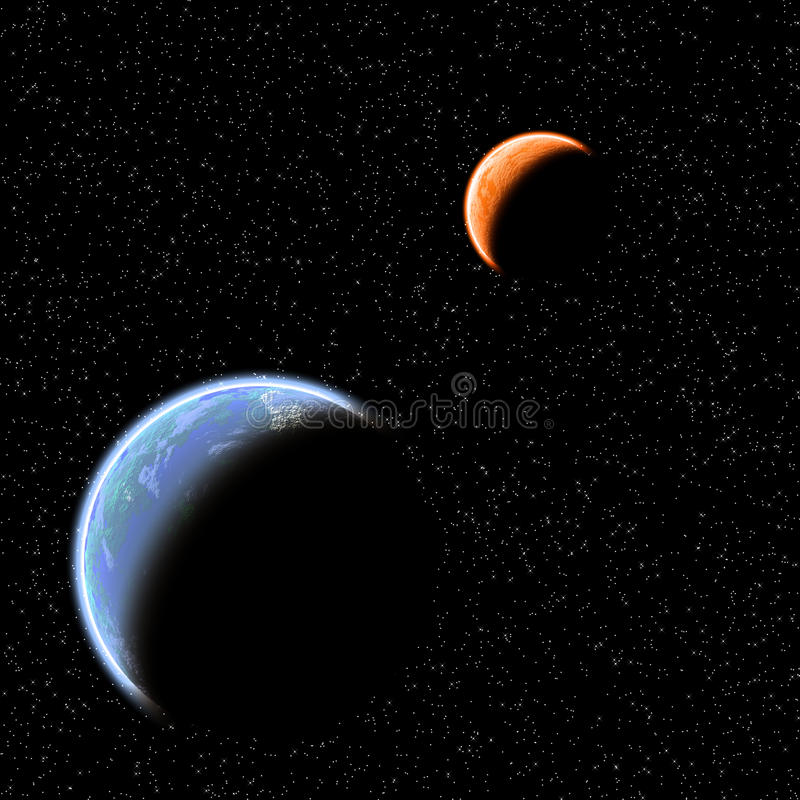 Two planets royalty free illustration