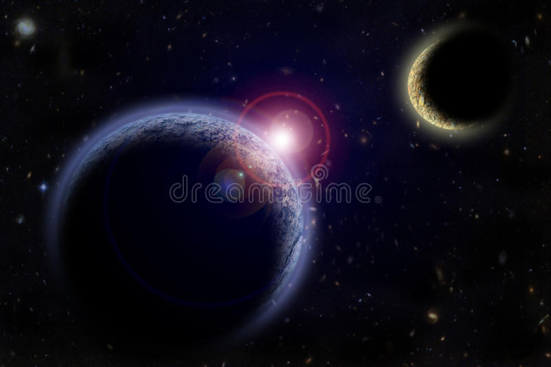 Two planets in outer space. Astronomy image stock photo