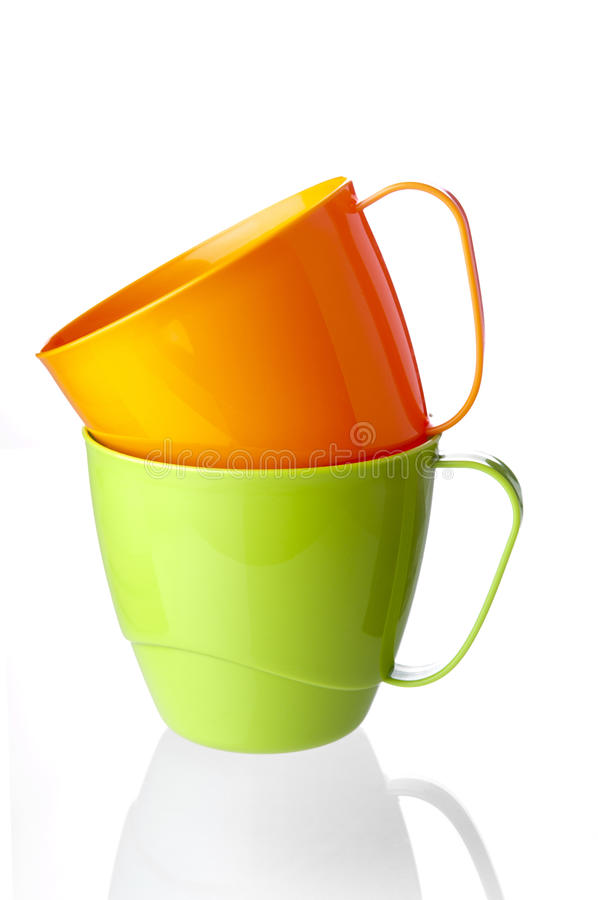 Two plastic cups royalty free stock photos
