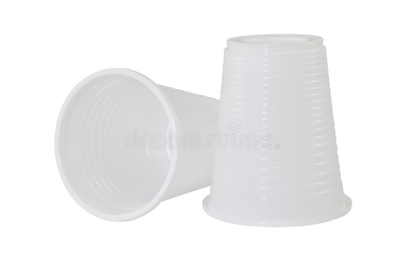 Two plastic cups stock images