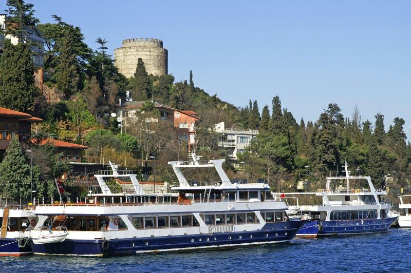 Two Pleasure Boats Near Rumeli Fortress Stock Photo