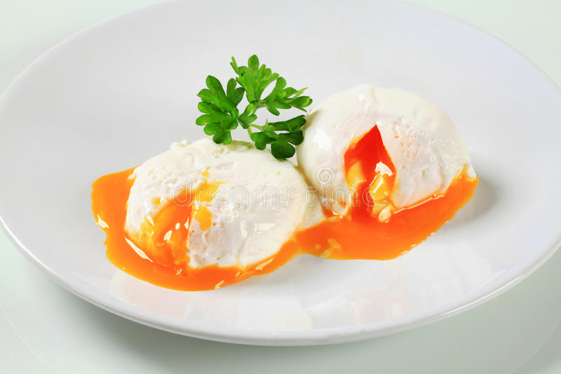 Two poached eggs stock image