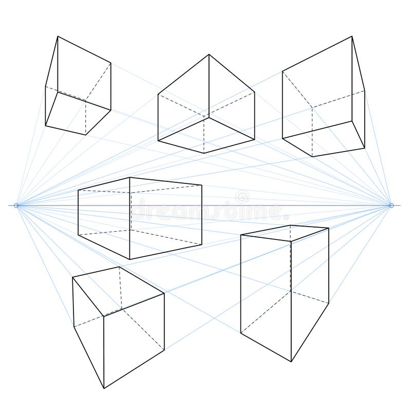 Two Point Perspective Line Drawings. Vector Set of Cubes and Parallelepipeds vector illustration