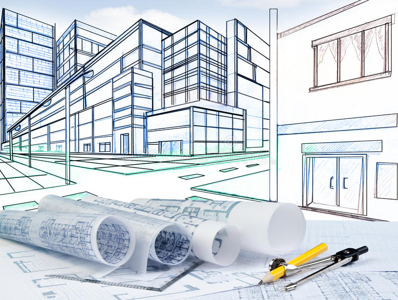 Download Two Point Perspective Sketching Of Building On Street Junction Stock Illustration - Illustration of engineer, civil: 33028413