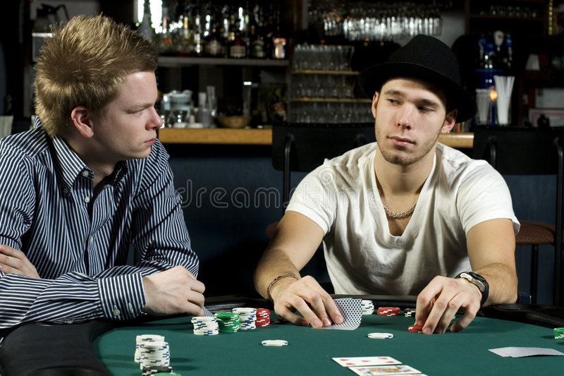 Two poker players royalty free stock photo