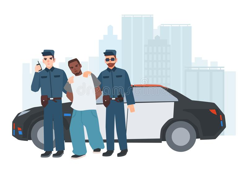 Two policemen in uniform standing near police car with caught criminal against city buildings on background. Arrested royalty free illustration