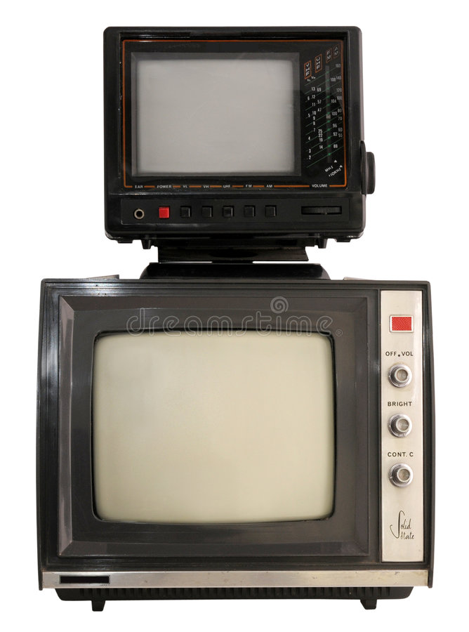 Download Two portable mini TV sets stock image. Image of screen - 6860513