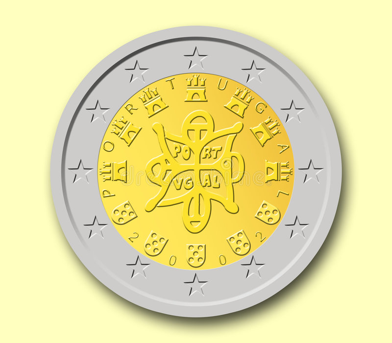 Two Portuguese Euro Coin. With yellow background royalty free illustration