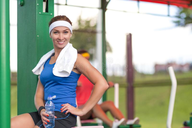 Two positive caucasian female athlete in good fit royalty free stock images