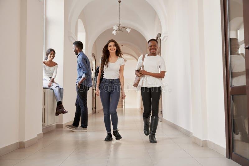 Two positivity stylish female students. royalty free stock images