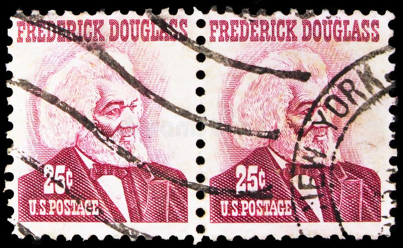 Two postage stamp printed in United States shows Frederick Douglass, Famous Americans serie, circa 1967. MOSCOW, RUSSIA - SEPTEMBER 24, 2019: Two postage stamp stock images