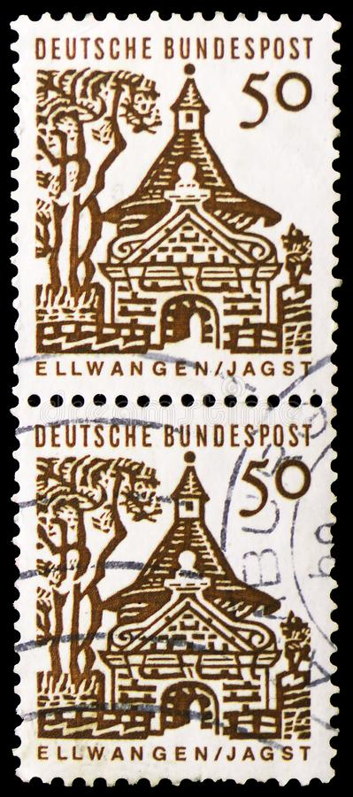 Two postage stamps printed in Germany, Federal Republic shows Castlegate, Ellwangen Jagst, German buildings from twelve. MOSCOW, RUSSIA - MARCH 23, 2019: Two stock photos