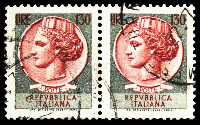 Two postage stamps printed in Italy shows Coin of Syracuse, 130 - Italian lira, serie, circa 1966 royalty free stock images