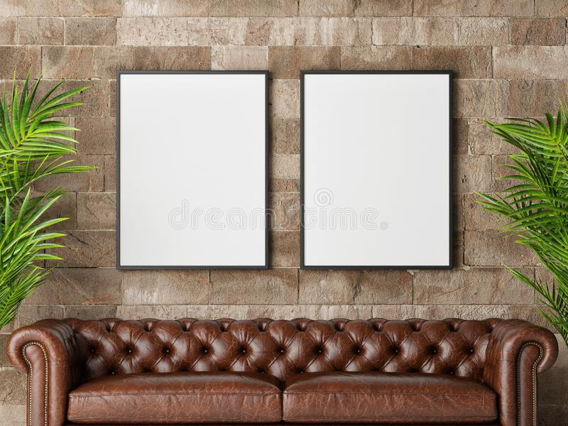 Two posters with retro sofa, part of living room stock photos