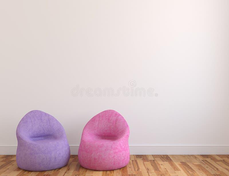 Two poufs near empty wall. vector illustration