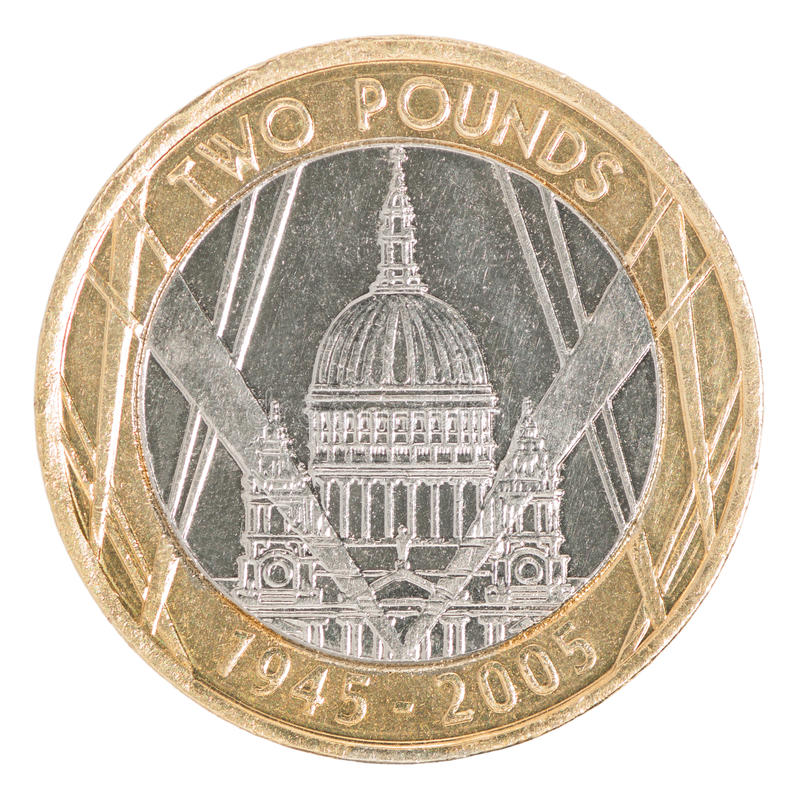 Two pounds coin stock images